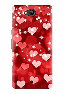 LYF WATER 4 BACK COVER FOR LYF WATER 4 / Patterns & Ethnic / Red Hearts For Love Design - (GD-444) By Noise