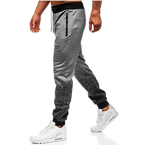 Xmiral Hose Herren Outdoor Gradient Spleißen Tunnelzughose Reißverschlusstasche(XL,Grau)