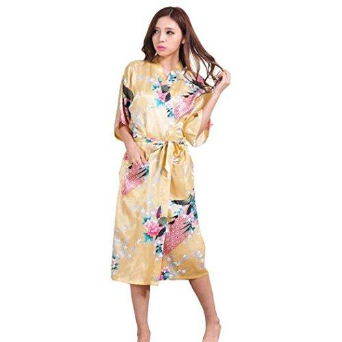 Damen Morgenmantel Kimono Robe Bademantel Nachtwäsche aus Satin mit ...