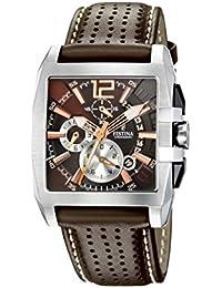 Festina F16363/2 - Reloj cronógrafo de caballero de cuarzo con correa de piel marrón - sumergible a 50 metros