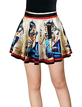 Targogo Faldas Mujer Cortas Elegante Verano Elasticos Cintura Alta Vintage Swing A-Line Con Volantes Skater Impresión...