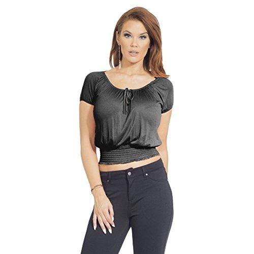Crop Top femmes manches courtes rayonne section douce Leger Noir