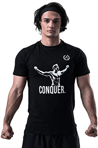 AESTHETIC LEGACY Premium Arnold - Conquer T-Shirt | Slim-Fit Herren Trainingsshirt | perfekt für Bodybuilding, Fitness-Training, Sport, Workout & Gym (T-Shirt, L)
