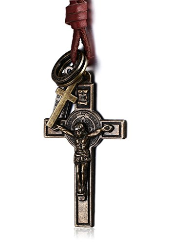 Mens Fashion Jewelry-Ciondolo da donna a croce, in ottone, stile Vintage, con anello, collana con ciondolo, a forma di croce, con cinturino in pelle - 14k Anello In Ottone