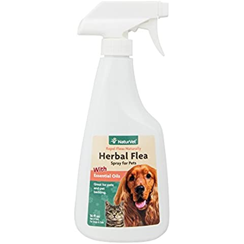 NaturVet Natural HERBAL FLEA SPRAY for Dogs & Cats Also Great for Bedding 473 ml