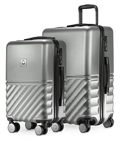 HAUPTSTADTKOFFER - Boxi - 2er Kofferset Trolley-Set Rollkoffer Reisekoffer Handgepäck und mittelgroßer Koffer (55/65 cm), ABS-Hartschale TSA, 4 Spinner-Doppelrollen, Silber