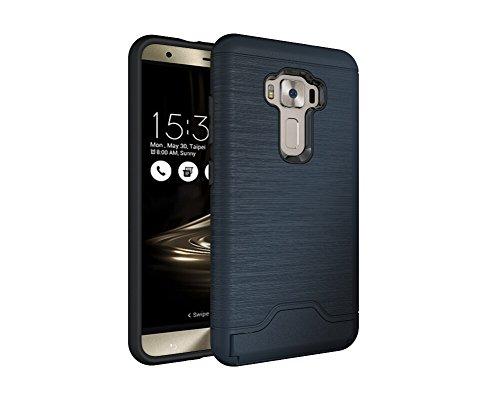 Coque ASUS ZenFone 3 Z012D case ZE552KL Dans Design Brossé Housse portefeuille avec Kickstand TPU + PC Protection contre les chocs Housse de protection pour ASUS ZenFone 3 Z012D ZE552KL (bleu marin)