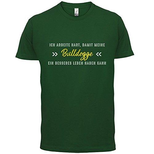 Ich arbeite hart, damit meine Bulldogge ein besseres Leben haben kann - Herren T-Shirt - 12 Farben Flaschengrün