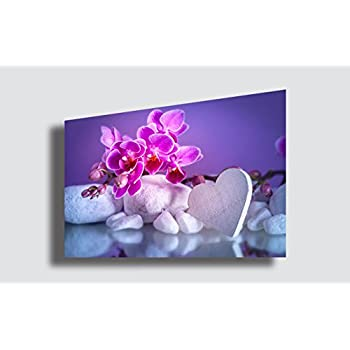 Quadro Moderno FIORI ORCHIDEA Amore Cuore Love Pietre Zen Estetica ...
