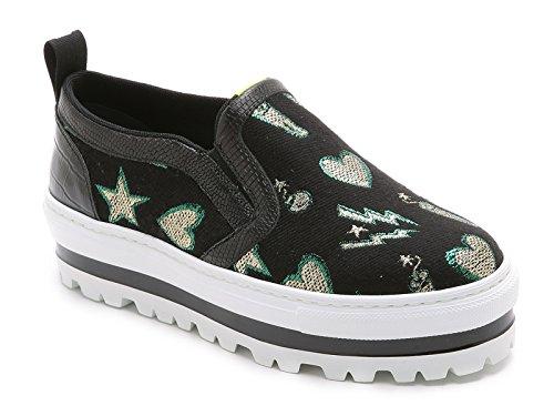 MSGM Slip Ons Sneakers aus schwarzem Leder und Stoff Modellnummer  1941MDS08070 Schwarz