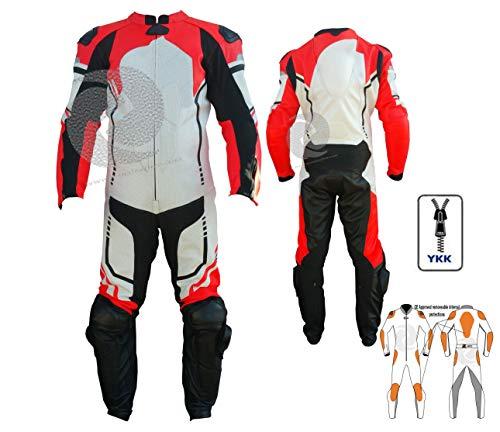 Tuta intera da moto in pelle rossa Flourecent per pista e off track con Speed hump di qualsiasi dimensione e colore Zens in pelle