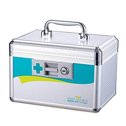 Tragbare Erste-Hilfe-Box Mit Griff 2-Lagig Medizinische Aufbewahrungsbox Aluminiumstangen Abs AbschließBares Erste-Hilfe-Kit FüR Zuhause, Unterwegs Und Am Arbeitsplatz