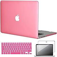 3-en-1 Topideal cauchutadas mate Carcasa rígida para Apple 39,12 cm 38,1 cm MacBook Pro con pantalla Retina/Pantalla (modelo: A1398) + teclado + Protector de pantalla