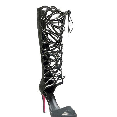 Angkorly - damen Schuhe Sandalen Pumpe - Römersandalen - Stiletto - Sexy - String Tanga - Multi-Zaum - Strass Stiletto high heel 11 CM Schwarz