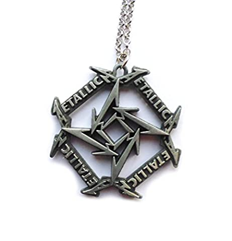 Metallica pendant / necklace - big, long, heavy, metal, dark-silver with Star motive for Metallica