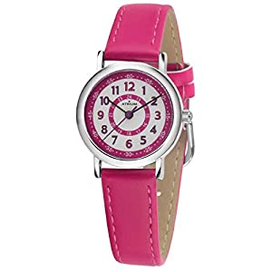ATRIUM Kinder-Armbanduhr Mädchen Analog Quarz 5 Bar Metall Lederimitat A31-101