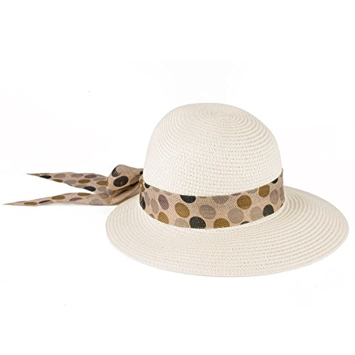 Chapeau à visière été avec ruban à pois multicolores Crème