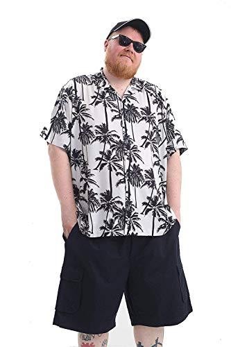 Brooklyn Imports LTD Übergrößen Herren Hawaii Hemden Kurzärmelig Sommer Stil, Gedruckt Designs - Groß Palmen - Weiß, XXL -