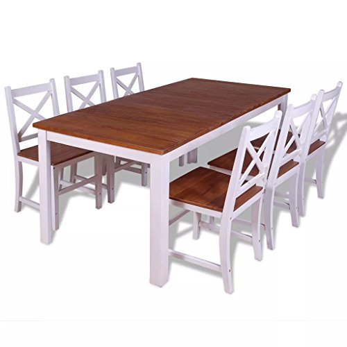 Lingjiushopping Set 7Stück Stühle/Tisch Esszimmer Teak Holz Massiv Farbe: weiß und braun Material der Tischplatte und des Sitz: 100% Teakholz massiv mit Rustikal Finish A Öl. -