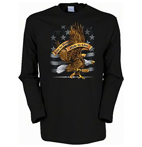 Cooles Herren Langarmshirt, Farbe: Schwarz, Ride to Live Schwarz