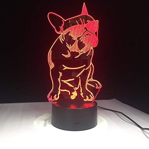 Tragende Farbe Der Sonnenbrille-Hund3D-Lampen-7 Führte Nachtlampen Für Kindnote Geführtes Usb- Schlafennachtlicht