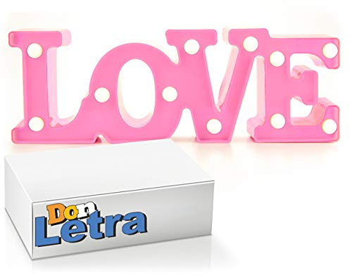 DON LETRA - Lámparas Decorativas de Love Decoración Iluminación Lámpara de Mesa de Luz LED Decoración de Fiesta Lámpara de la Habitación (Love - Rosa)