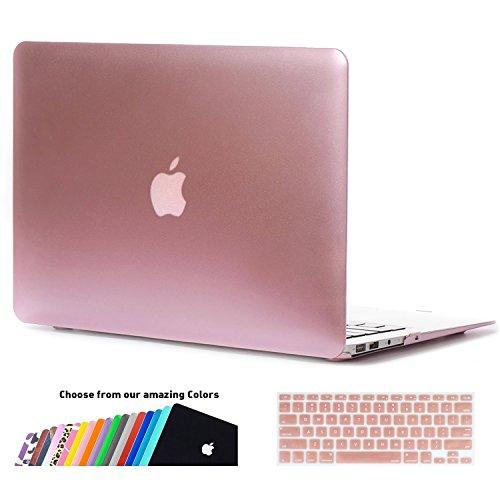 MacBook Air 13 Hülle Case,iNeseon Ultra Slim Plastik Hartschale Tasche Cover Shell, US Version Rose Gold und EU Version Transparent Tastatur Abdeckung Schutzhülle für Apple MacBook Air 13,3 Zoll [Modell: A1466 und A1369] (Roségold) (Mac 13 Zoll-tastatur-abdeckung)