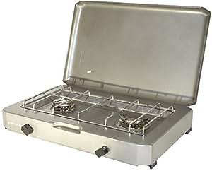 PROVIDUS-PROWELTEK PR1085 FT 200 Réchaud à Gaz 2 Feux avec Couvercle 2500 W