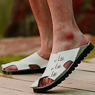 Sommer Sandalen Herrenschuhe Outdoor/Sportlich/Casual Leder Hausschuhe, Schwarz/Braun/Weiss Weiß