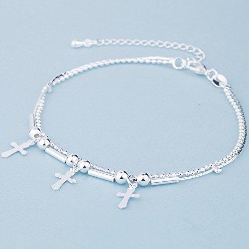 Daeou Armbänder für Damen Silber Armband Doppelte Perlen Kreuz Dame Armband Schmuck