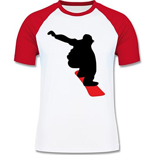Wintersport - Snowboard Abfahrt - zweifarbiges Baseballshirt für Männer Weiß/Rot