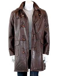 Hommes Duffle de manteau de cuir - Adamo / Noir