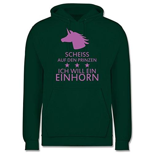 Nerds & Geeks - Einhorn - Scheiss auf den Prinzen ich will ein Einhorn - Männer Premium Kapuzenpullover / Hoodie Dunkelgrün