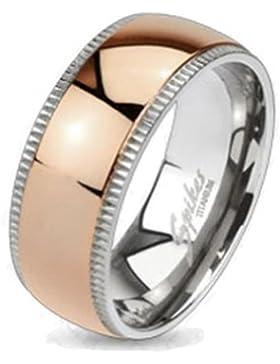Paula & Fritz® Titan Ring silber rosègold Edge Dome verfügbare Ringgrößen 47 (15) – 69 (22) R-TI-4379