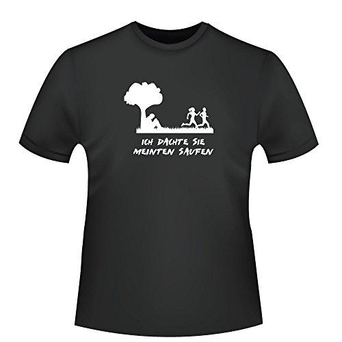 Ich dachte sie meinten saufen, Herren T-Shirt - Fairtrade - ID104300 Schwarz