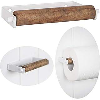 LS-LebenStil Metall Toilettenpapierhalter Weiß 13cm Altum Rollenhalter Holzrolle