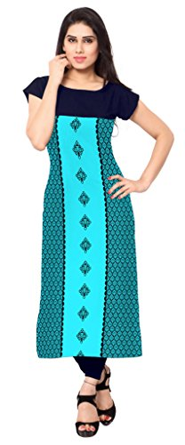Ziyaa Aqua Blue Colour Boat Neck With Cap Sleeve Faux Crepe Digital Print Kurti  available at amazon for Rs.379