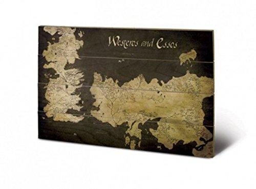 Preisvergleich Produktbild 1art1 79507 Game Of Thrones - Antike Landkarte Von Westeros Und Essos Poster Auf Holz 60 x 40 cm