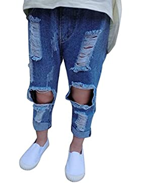 Loveble ragazze Blue Jeans Slim matita Denim pantaloni strappati del foro