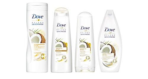 Dove Pflegeset Kokos mit Body Lotion, Shampoo, Spülung und Pflegedusche