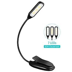 Leselampe Buch Klemme, TOPELEK 7 LED Buchlampe Bett, 3 Farbtemperatur, 3 Helligkeiten, 60H Dauerzeit, Mikro USB, LED Klemmleuchte für Nachtlesung, Reisen, eBook