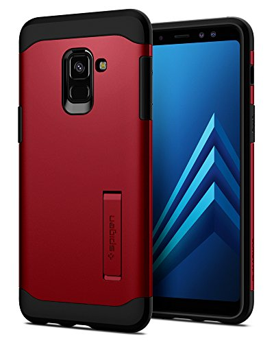 Spigen 590CS22808 Slim Armor für Samsung Galaxy A8 2018 Hülle Integrierter Kickstand 2-teilige Handyhülle Schutzhülle Case - Merlot Red