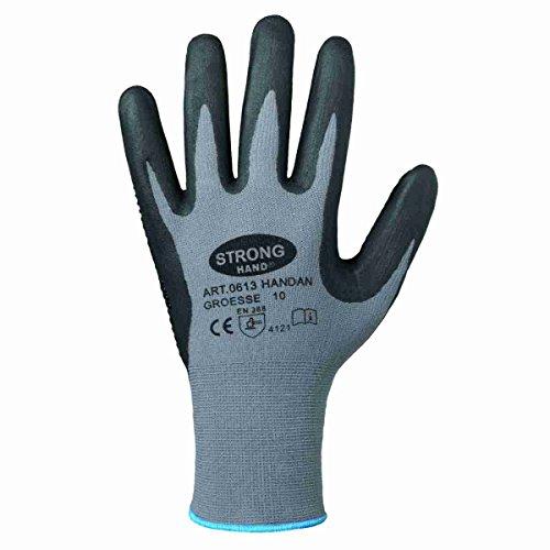 Handschuh HANDAN genoppt nahtlos EN388 flexibel griffig Arbeitshandschuh Noppen (10, Einzeln (1 Paar))