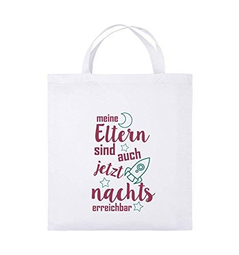 Comedy Bags - Meine Eltern sind jetzt auch nachts erreichbar. - Jutebeutel - kurze Henkel - 38x42cm - Farbe: Schwarz / Weiss-Neongrün Weiss / Fuchsia-Türkis
