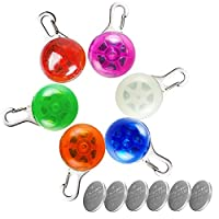 Kyerivs 6 PCS Pet collar light Dog Flash Collar Light of Dogs and Cats,waterproof Light up Dog Collar for Night Walking with 6 pcs Battery