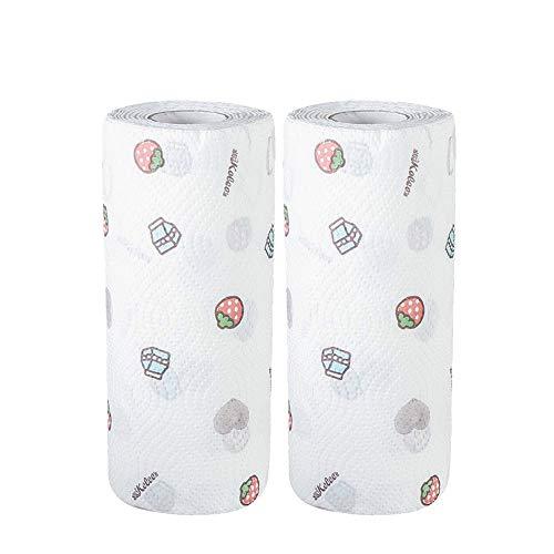 Panno for pulizia in fibra fine 2 pezzi / lotto, tessuto non tessuto spessa a doppio strato for la pulizia della cucina ad assorbimento di olio, materiale monouso privo di lanugine, ecologico, panno f