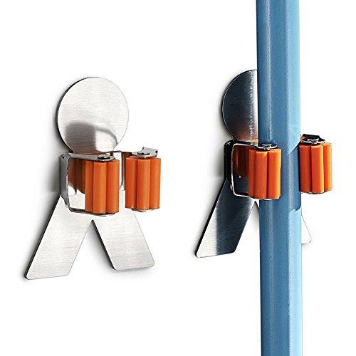 Arimaya 2 Stück Besen Halter Gerätehalter Wandhalter aus Edelstahl,Bad Küche Organizer Rack mit 3M Selbstklebend (Garage Organisieren)
