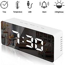 Lambony Ambony Réveil numérique avec Affichage LED Température Réglable Luminosité USB et USB Fonctionne avec Batterie pour Chambre Bureau Blanc 14,6 x 8,4 x 4,2 cm