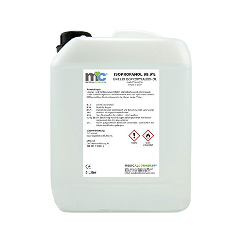 Medicalcorner24® Isopropanol Isopropylalkohol 99,9%, 5 Liter Kanister, Nagel Cleaner, 2 Propanol - Isopropylalkohol Cleaner