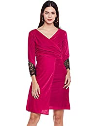 Pink Ruched velvet wrap dress with mesh sleeves